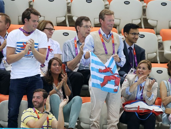 Princess Tessy of Luxembourg, Prince Felix of Luxembourg, Princess Alexandra of Luxembourg, Henri Grand Duke of Luxembourg and his wife Maria Teresa and Prince Guillaume watch the swimming competition at the Aquatics Center of the Olympic Park. Summer Olympic Games 2012 in London.