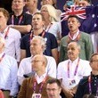 Prince Peter Prince Harry, Prince Peter Phillips and John Major cheer on Team GB in track cycling at the Velodrome during the London Olympic Games 2012