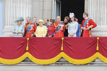 """Queen Elizabeth II Princess Beatrice Queen Elizabeth II and Duke of Edinburgh at the """"Trooping the Colour"""" birthday celebrations in London with aerial perfomance"""