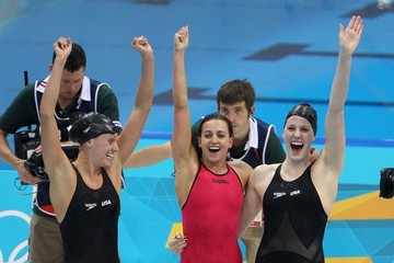 Rebecca Soni Allison Schmitt, Dana Vollmer, Rebecca Soni and Missy Franklin of the USA Swim Team seen winning the gold medal at the Aquatics Centre, London 2012 Olympic Games