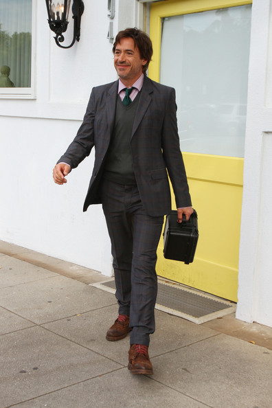 Robert Downey Jr seen leaving the Byron and Tracey  Salon in Beverly Hills, wearing mismatched clunky boots with a suit. The