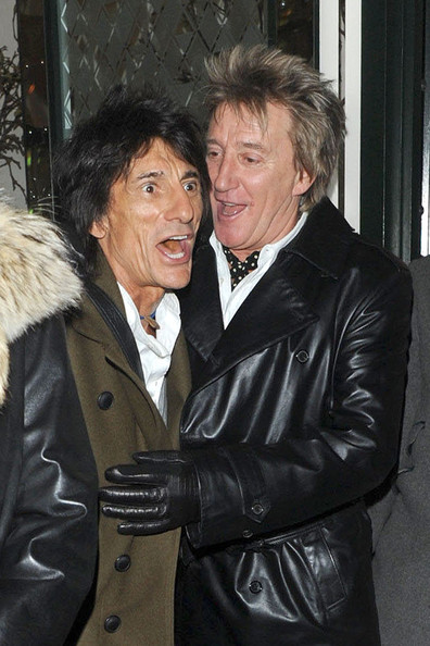 Rod Stewart Rolling Stone Ronnie Wood and rocker Rod Stewart share a joke outside London's Ivy restaurant. The pari were dining out with their respective partners - Ana Araujo and Penny Lancaster.