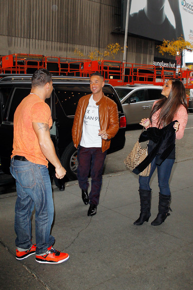 Ronnie Ortiz-Magro, Samantha 'Sweetheart' Giancola, Michael 'The Situation' Sorrentino and the cast of 'Jersey Shore' arrive at the MTV Studios in New York City