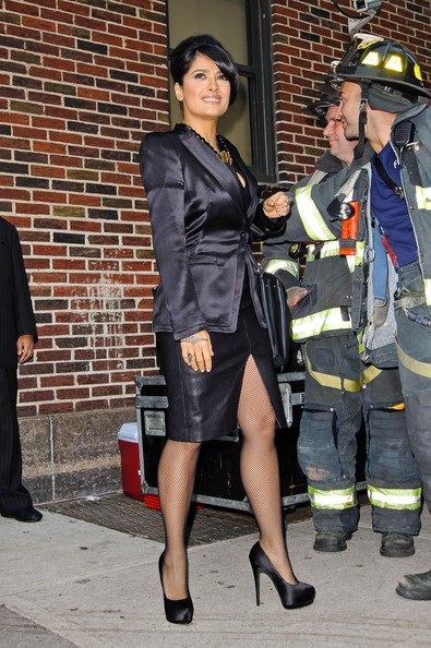 Salma Hayek - Actress Salma Hayek seen posing with the NYC Firefighters while arriving to 'Late Show With David Letterman'