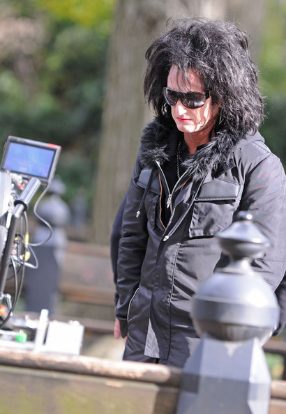 "Sean Penn in between takes on the set of ""This Must Be The Place,"" in Central Park. The actor was dressed in drag for his character named Cheyenne, ""a bored, retired rock star setting out to find his father's executioner, an ex-Nazi war criminal who is a refugee in the U.S."