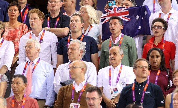 Prince Harry, Prince Peter Phillips and John Major cheer on Team GB in track cycling at the Velodrome during the London Olympic Games 2012 []