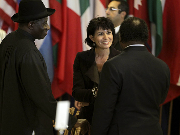 Goodluck Jonathan, President of Nigeria, and Doris Leuthard, President of Switzerland attend the State luncheon hosted by U.N. Secretary-General Ban Ki-moon to celebrate the first day of the 65th United Nations General Assembly, held at the U.N. headquarters in Manhattan.