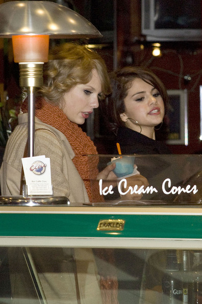 Selena Gomez Taylor Swift and Selena Gomez have a night out together as they are seen going to Jamie's, Jamie Oliver's new restaurant in Covent Garden. After the meal Taylor and Selena both headed over to Ciao Italian Gelateria in Leicester Square. Taylor got stracciatella gelato while Selena opted for toffee white chocolate flavored gelato. The pair giggled to each other as they ate their cool treats on a rather cold night in London.