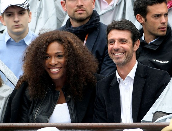 Serena Williams and coach Patrick Mouratoglou at the French Open 2012 held at the Roland-Garros Stadium in Paris.