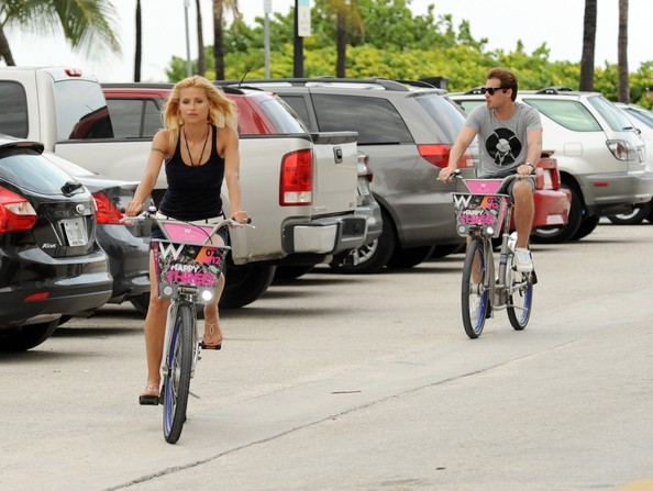 Michelle Hunziker and Tomaso Trussardi Bike Around Miami