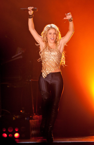 Shakira Colombian Pop queen Shakira rocks the crowd at the SECC in Glasgow as part of her 2010 The Sun Comes Out Tour.