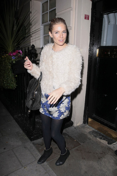 "Sienna Miller enjoys a night on the town after her latest stage perfomrance in ""Flare Path"". The actress was accompanied by fellow stage star Sheridan Smith (taupe jacket) and an unidentified lady as she celebrated the rave reviews of her show."