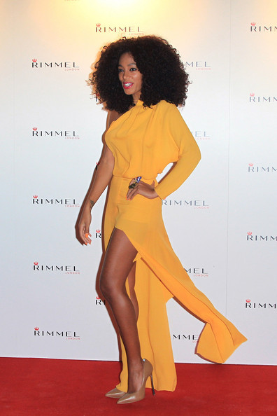 Solange Knowles Solange Knowles joins other famous faces on the red carpet at the Rimmel Party at Battersea Power Station - to celebrate 10 years of Kate Moss as the face of Rimmel..