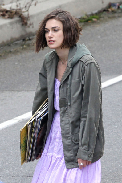 "Keira Knightley and Steve Carell continue work on the set of their upcoming film ""Seeking a Friend for the End of the World"", shooting on location in Los Angeles. While on set, Carell could be see walking a dog on a leash while Knightley tried to hitchhike with an arm full of old records."