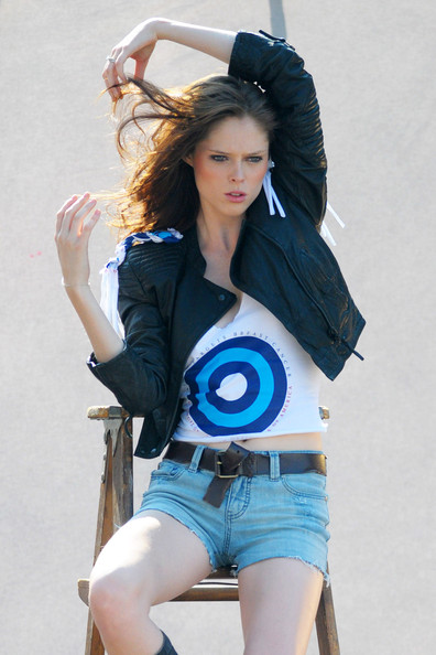 poses for pictures. Supermodel Coco Rocha poses
