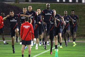 Sylvain Armand Sylvain Armand, Claude Makelele, Javier Pastore and Guillaume Hoarau practice during new coach Carlo Ancelotti's first training session with the Paris Saint Germain