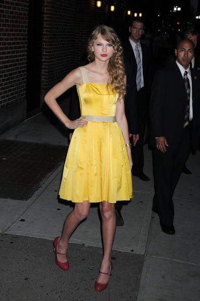 "Taylor Swift Taylor Swift poses for photographs before making an appearance on ""The Late Show with David Letterman""."