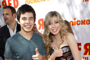 "Jennette McCurdy and David Archuleta at the Los Angeles premiere of ""Fred: The Movie"" held at the Paramount Pictures Studios, Los Angeles."