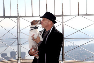 """Omar von Muller Uggie, Jack Russell Terrier and star of Golden Globe winning film """"The Artist,"""" s the medi media at the Empire State Building's outside observation deck in NYC"""