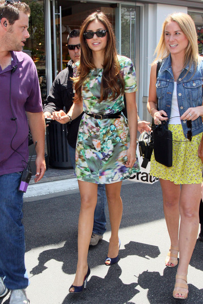 """Vampire Diaries"" actress Nina Dobrev stops in for an appearance on ""Extra"" at The Grove where she was interviewed by host Maria Menounos.  ."