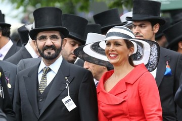 Vice Sheikh Mohammed bin Rashid al Maktoum, the Prime Minister and Vice President of the United Arab Emirates and his wife Princess Haya of Jordan arrive at the Epsom Derby in Epsom