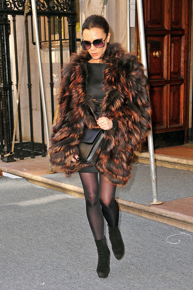 Victoria Beckham Victoria Beckham keeps the New York chill away with a massive fun fur coat as she leaves her fashion show in the Big Apple. The singer-turned-designer held her show as part of New York Fashion Week.