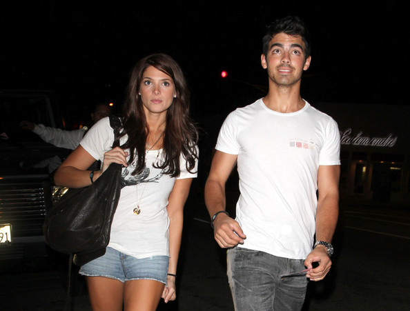 "Wearing matching wristbands, Joe Jonas and Ashley Greene head home after enjoying a romantic dinner for two in Los Angeles. Before he started dating Ashley, Joe was a wearer of the so-called Purity Ring - a vow not to have sex before marriage. Joe was not wearing his ring on his dinner out with the young actress. The ""Twilight"" star and her pop star boyfriend have been dating since early summer."