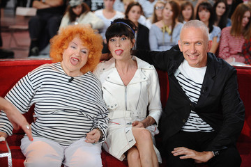 "Lio Yvette Horner, 'Lio' and Jean Paul Gaultier, french fashion designer, join Michel Drucker on the famous red sofa on the french talk show ""Vivement Dimanche,"" or ""Finally, Sunday!"""