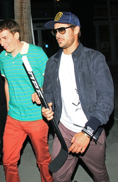 Zac Effron seen leaving the Staples Centre after watching the LA Kings play in game 6 of the Stanley Cup Final in Los Angeles