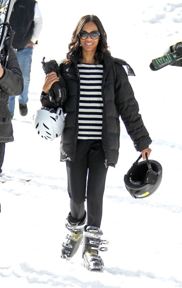 Zoe Saldana Zoe Saldana and fiance Keith Britton take to the slopes as they continue to enjoy their holiday vacation in Aspen. Zoe could be seen getting some first time ski lessons from her more talented fiance.