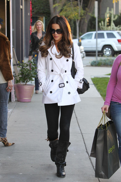 The beautiful Kate Beckinsale sports a short white pea coat while shopping at Fred Segal in Los Angeles.  Kate is the January 2012 REDBOOK cover girl set to hit newsstands on December 20th.