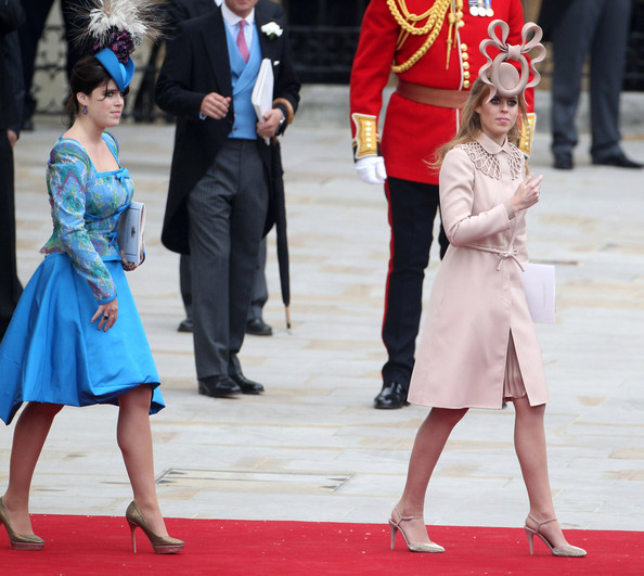Princesses Eugene and Beatrice after the Royal Wedding of Prince William and Kate Middleton held at Westminster Abbey. Kate & Wills announced their engagement in November last year after William proposed during a holiday in Kenya. The Royal couple will be known after the wedding as the Duke and Duchess of Cambridge.