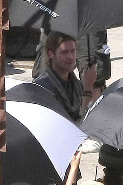 "A long-haired Brad Pitt filming scenes for his latest movie ""World War Z"" in Malta. The film is an adaptation of the novel ""World War Z: An Oral History of the Zombie War"" by Max Brooks."