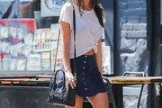 Emily Ratajkowski Leather Shoulder Bag