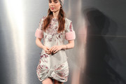 Lily Collins Embroidered Dress