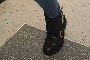 Lily Collins Motorcycle Boots